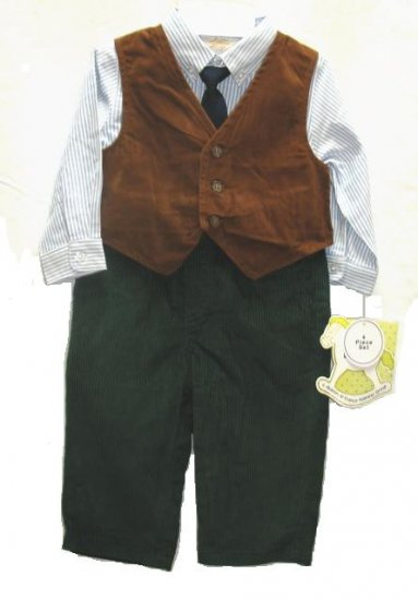 LITTLE BITTY Boys 4pc Holiday Dress Outfit Tie Vest Cord Pants 12 Mo NEW