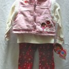 NICK JR. DORA Girls 3pc Winter Outfit Set Pink Velour Vest Cord Pants 12 Mo NEW