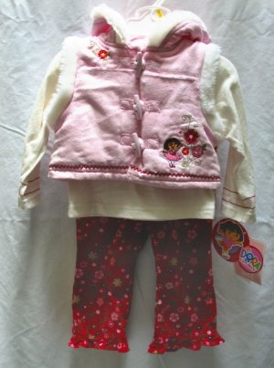 NICK JR. DORA Girls 3pc Winter Outfit Set Pink Velour Vest Cord Pants 12 Mo NEW