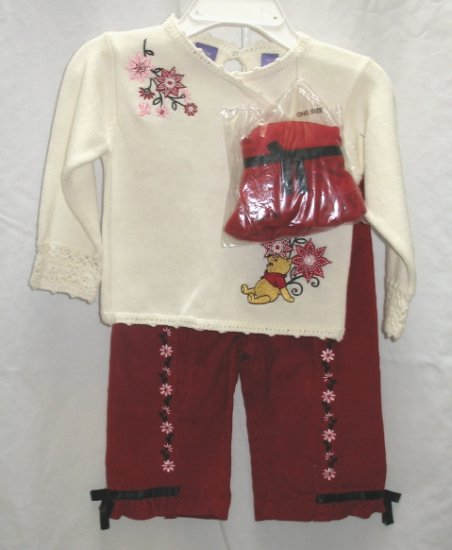 DISNEY POOH 3pc Outfit Set Red Cord Pants Cream Sweater Hat 24 Mo NEW