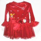 DISNEY POOH Girls Red Velour Tulle Holiday Dress Purse 2T NEW
