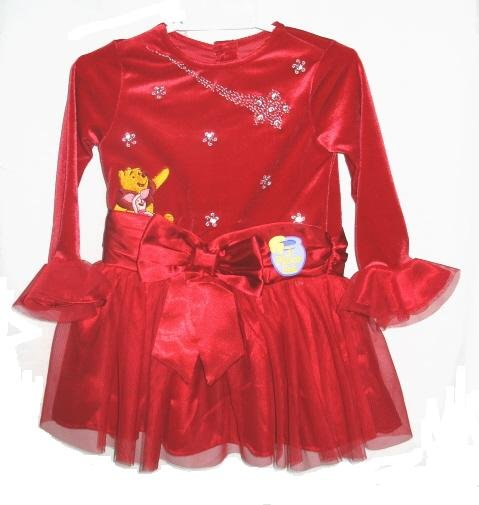 DISNEY POOH Girls Red Velour Tulle Holiday Dress Purse 3T NEW