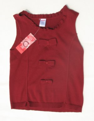 GYMBOREE Family Portrait Holiday Girls Red Bow Sweater Vest 8 NEW
