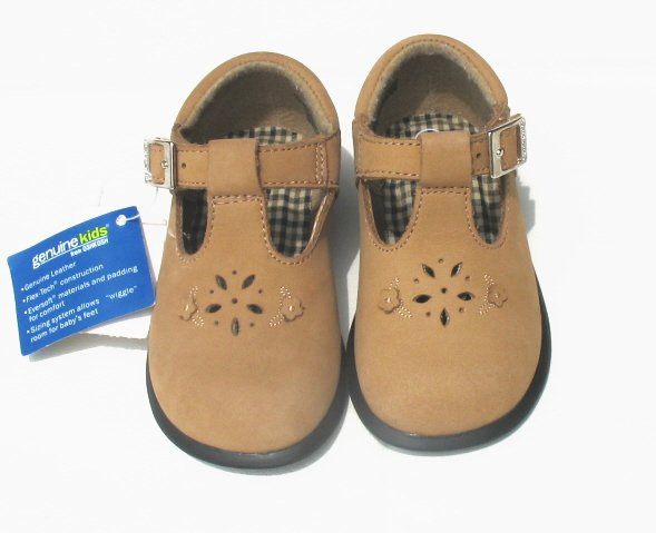 GENUINE KIDS Girls Tan Suede T-Strap Shoes 4 NEW