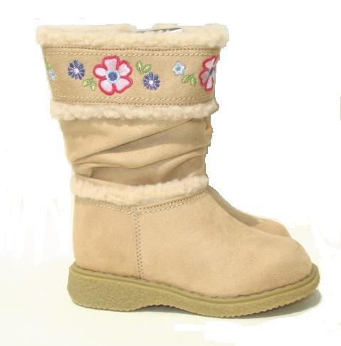 OSK KOSH Girls Tan Suede Flower Boots 7 NEW
