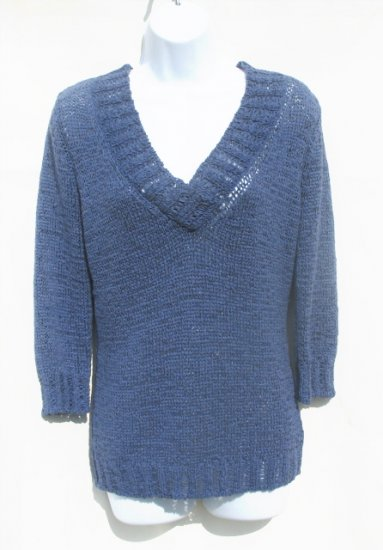 TINT Womens Blue Loose Knit 3/4 Sleeve V-Neck Sweater M 8 10 NEW