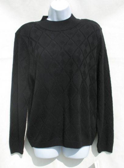 ALFRED DUNNER Womens Black Mock Turtle Neck Sweater S 4 6 NEW