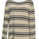 EAST 5TH Womens Tan Black Stripe Sweater L 14 16 NEW