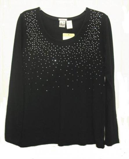 DUO Maternity Black Rhinestone LS Shirt Top L NEW