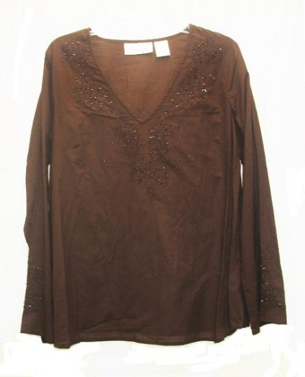 OH MAMMA Maternity Brown Beaded Tunic Shirt Top L NEW
