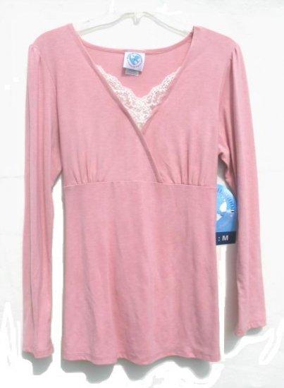 PLANET MOTHERHOOD Maternity Pink Lace Wrap Bodice LS Shirt M NEW