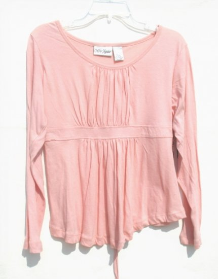 WE'RE TOGETHER Maternity Peach Gathered LS Shirt Top L NEW