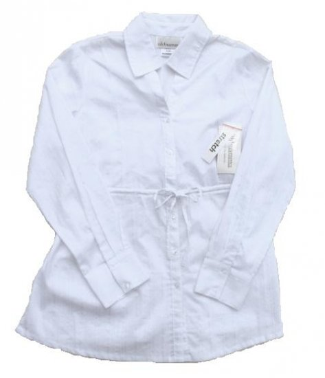 OH MAMMA Maternity White LS Button Front Dress Shirt M 10 12 NWT NEW