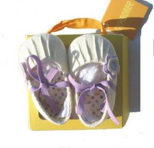 GYMBOREE Fun In The Snow Girls Cream Cord Crib Shoes 01 0-3 Mo NWT NEW