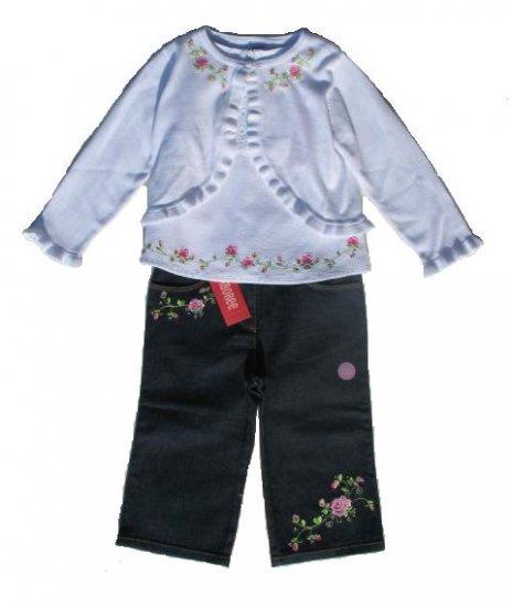 GYMBOREE Parisian Rose Girls Denim Jeans Top Sweater Set 3T NWT NEW