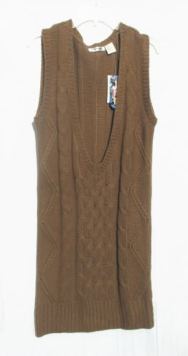 ENERGIE Juniors Womens Taupe Tunic Sweater Vest L 11 13 NWT NEW
