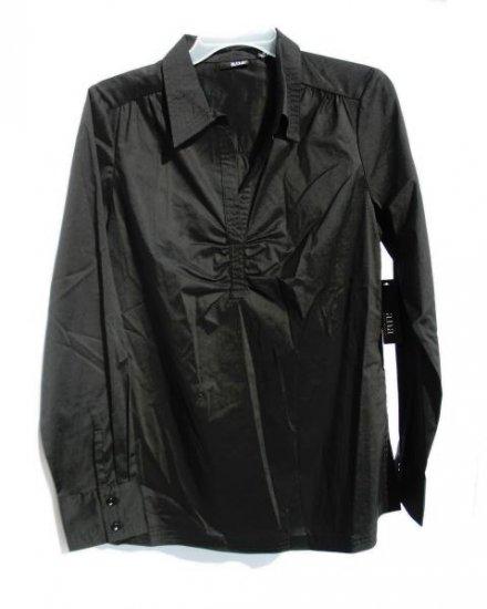 ANA Womens Black Pinch Front Dress Shirt M 8 10 NWT NEW