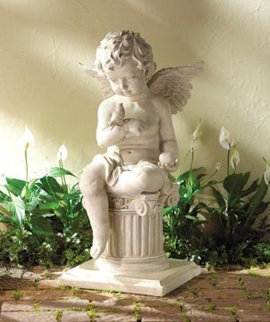 Alabaster Cherub Angel Column Statue
