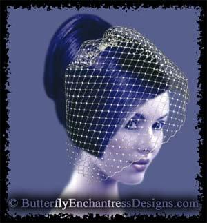 IVORY Bridal Blusher Birdcage Blusher Veil Hair Comb Wedding