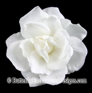 White Sandrine Gardenia Mini Bridal Hair Flower Clip Wedding