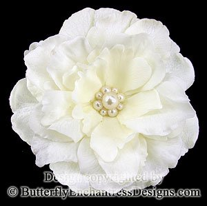 Pearl Cluster Ivory Audrina Flower Bridal Hair Clip Wedding