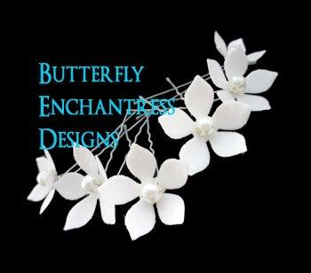 6 Pearl White Stephanotis Flower Bridal Hair Pins Wedding