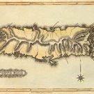 Puerto Porto Rico Caribbean map 1823 by Lucas