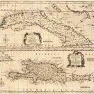 Cuba Cuban Hispaniola Dominican Republic Haiti Puerto Rico Caribbean map 1747 by Emanuel Bowen