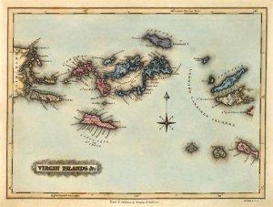British and US Virgin Islands Danish West Indies Caribbean map 1823 ...