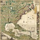 North America West Indies Caribbean map 1733 by Henry Popple