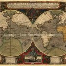World map with Routes of Sir Drake 1595 by Hondius
