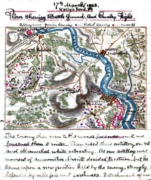 Battle Ground Cavalry Fight Kelly's Ford Virginia 1863 Civil War map by Sneden