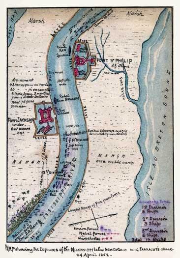 Mississippi Defenses below New Orleans Admiral Farragut Attack 1862 Civil War map by Sneden