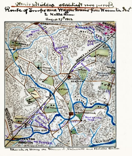 Battle Of The Kettles: Route Of Troops And Wagon Trains Warrenton Junction To