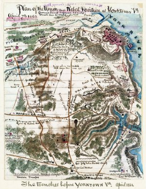 Union and Rebel Position Yorktown Virginia 1862 Civil War map by Sneden