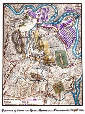 Union Rebel Armies near Chancellorsville Virginia 1863 Civil War map by Sneden