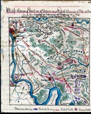 Union Rebel White Oak Swamp Creek Virginia 1862 Civil War map by Sneden