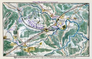 Warrenton Junction Orange and Alexandria railroad Virginia 1863 Civil War map by Sneden