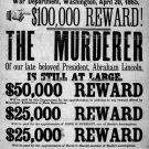President Abraham Lincoln assasination John Wilkes Booth Civil War reward poster art print