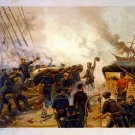 Naval Kearsarce and Alabama Civil War art print by Louis Prang