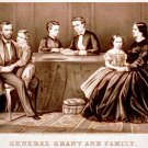 General Ulysses S. Grant and family portrait Civil War art drawing print 1867 by Currier & Ives