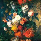 Flower in a Terracota Base 1736-1737 still life canvas art print by Jan van Huysum