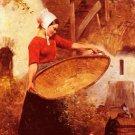 Feeding Time Chickens La Provende Des Poules woman canvas art print by Louis Pierre Verwee