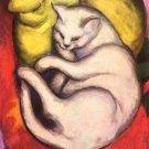Cat on yellow cushion feline canvas art print by Franz Marc