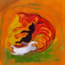 Cat with Youngs feline canvas art print by Franz Marc