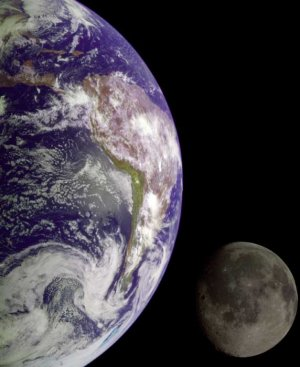 Earth and Moon from Space satellite photo photograph art Print