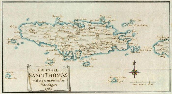 st thomas danish virgin islands 1767 plantation color map paul kussner