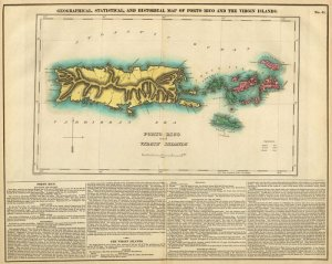 Puerto Rico British US Virgin Islands Danish W.I. 1822 map Carey & Lea