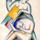 Two Women Acts woman canvas art print by Franz Marc