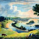Richmond Virginia from the hill above the waterworks canvas art print by W.J. Bennett
